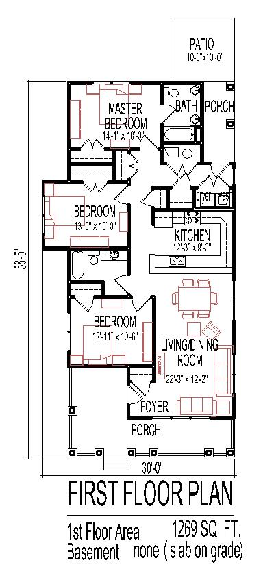 Small 3 Bedroom House Floor Plans Design Slab On Grade