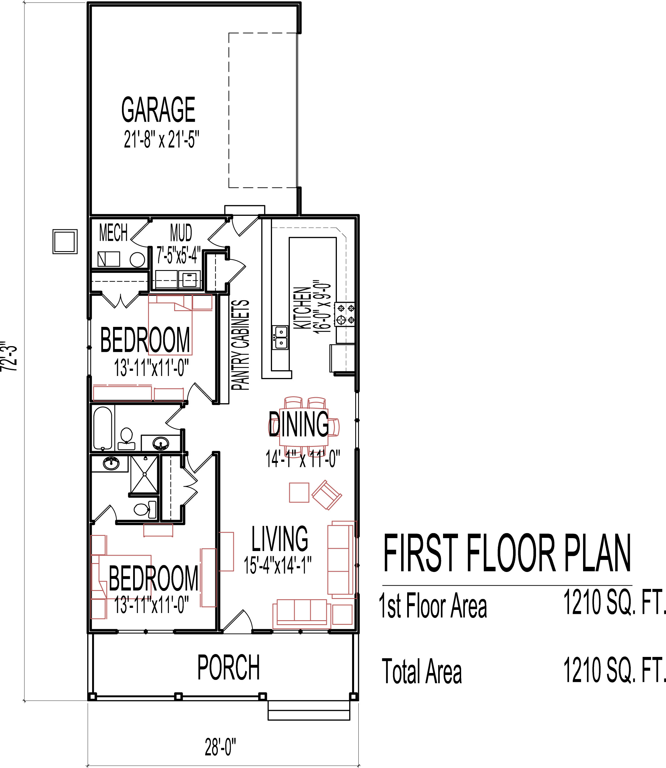 Small two bedroom house plans low cost 1200 sq ft one for 1 bed 1 bath house plans